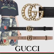 GUCCI Studded Plain Leather With Jewels Elegant Style Belts