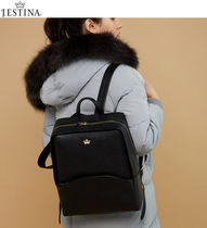 J.ESTINA Casual Style Street Style A4 Plain Leather Backpacks