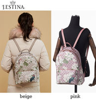 J.ESTINA Flower Patterns Casual Style Street Style A4 PVC Clothing