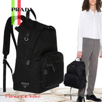PRADA Unisex Nylon Blended Fabrics Plain Backpacks