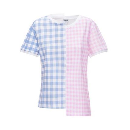 Gingham Cotton Short Sleeves T-Shirts