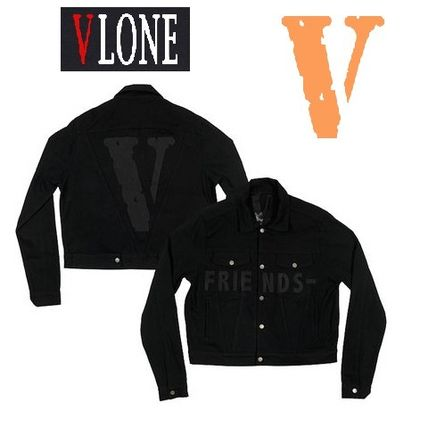 VLONE Short Unisex Denim Street Style Collaboration Plain