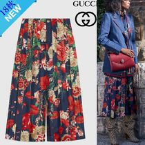 GUCCI Flower Patterns Silk Medium Elegant Style
