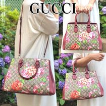 GUCCI Flower Patterns 2WAY Leather Elegant Style Handbags