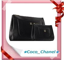 CHANEL ICON Calfskin Plain Clutches