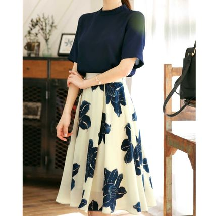 Flared Skirts Flower Patterns Long Elegant Style Maxi Skirts
