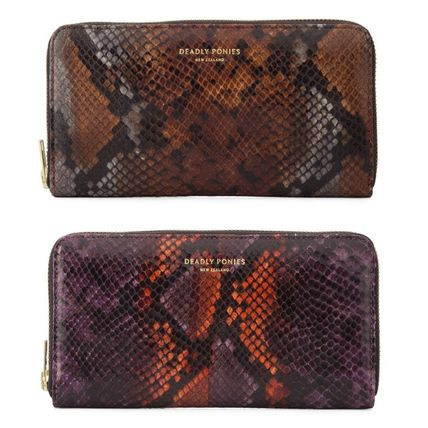 Unisex Leather Handmade Python Long Wallets