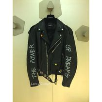 BALENCIAGA Plain Leather Biker Jackets