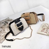 Casual Style Chain Plain Straw Bags