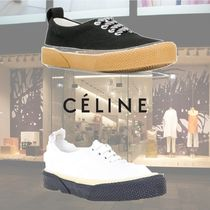 CELINE Round Toe Rubber Sole Casual Style Plain Low-Top Sneakers