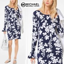Michael Kors Flower Patterns Tight Long Sleeves Elegant Style Dresses