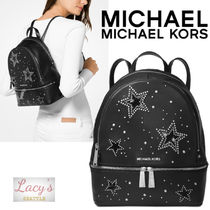 Michael Kors RHEA Star Casual Style Studded Plain Leather With Jewels