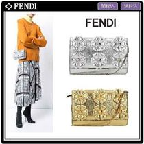 FENDI Flower Patterns Studded 2WAY Chain Leather Elegant Style