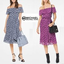 Michael Kors Flower Patterns Flared Elegant Style Dresses
