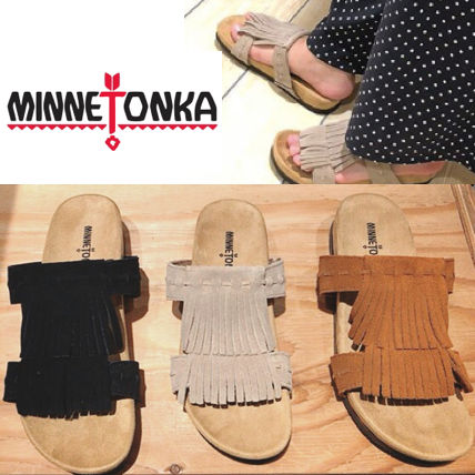 Rubber Sole Casual Style Suede Plain Handmade Fringes