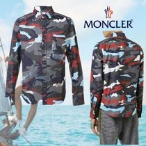 MONCLER Button-down Camouflage Long Sleeves Cotton Shirts