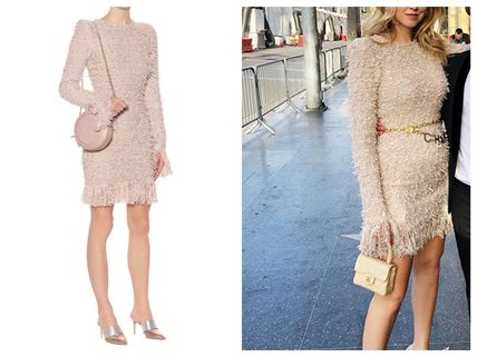 774c209b45ff86 ... BALMAIN Dresses Short Tight Tweed Long Sleeves Plain Fringes Elegant  Style ...