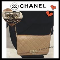 CHANEL CHAIN WALLET Casual Style Calfskin 3WAY Plain Shoulder Bags