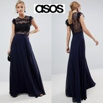 ASOS Maxi Puffed Sleeves Long Party Style High-Neck Lace Dresses