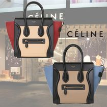 CELINE Plain Leather Elegant Style Totes