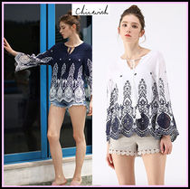 Chicwish Crew Neck Flower Patterns Casual Style Long Sleeves Medium