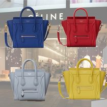 CELINE 2WAY Plain Leather Elegant Style Totes