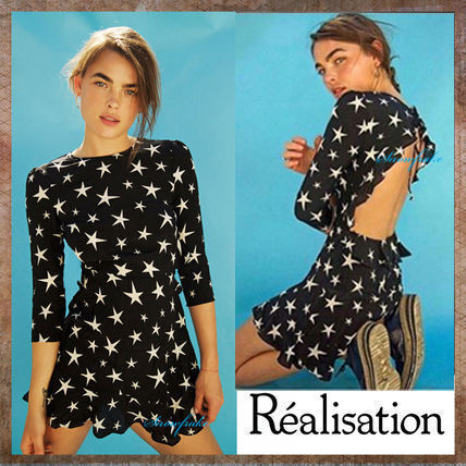 Crew Neck Short Star Casual Style Silk Cropped Dresses