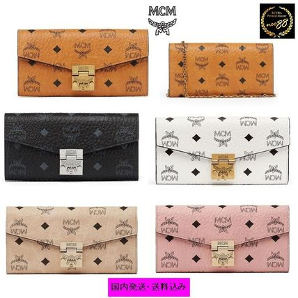 Monogram Blended Fabrics Chain Leather Long Wallets