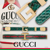 GUCCI Stripes Casual Style Python Belts