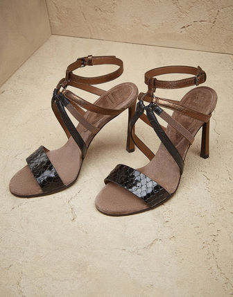 Open Toe Casual Style Blended Fabrics Leather Pin Heels