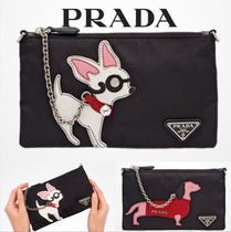 PRADA Nylon Plain Other Animal Patterns Pouches & Cosmetic Bags