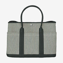 HERMES Garden Party Stripes Unisex Canvas Street Style A4 2WAY Plain Totes