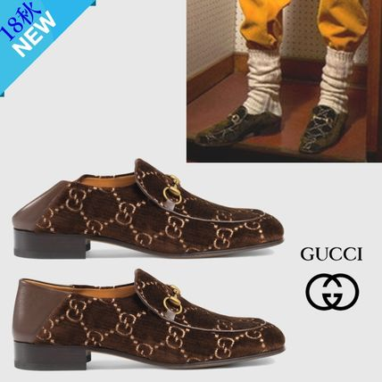 e6eb3976660 ... GUCCI Loafers   Slip-ons Monogram Loafers Velvet U Tips Loafers ...