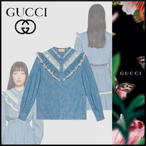 GUCCI Casual Style Plain Cotton Long Puff Sleeves Shirts & Blouses