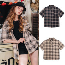 WV PROJECT Crew Neck Gingham Casual Style Unisex Street Style Cotton