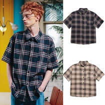 WV PROJECT Crew Neck Tartan Unisex Street Style Cotton Short Sleeves