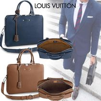 Louis Vuitton TAURILLON Blended Fabrics A4 2WAY Bi-color Plain Leather