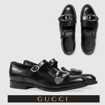 GUCCI Wing Tip Monk Blended Fabrics Leather Loafers & Slip-ons