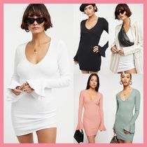 Free People Short Casual Style Tight V-Neck Long Sleeves Cotton Dresses