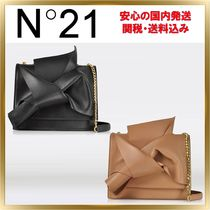 N21 numero ventuno Chain Plain Leather Elegant Style Shoulder Bags