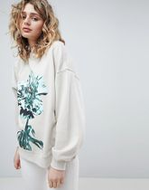 ASOS Crew Neck Flower Patterns Casual Style Street Style