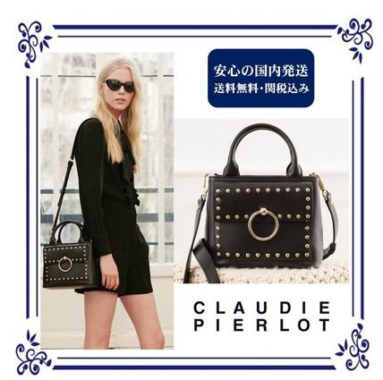 ... CLAUDIE PIERLOT Straw Bags Casual Style Studded Street Style 2WAY Plain  Leather ... 9cdd990f8ce3