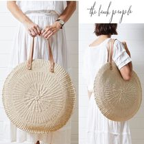 The Beach People Casual Style A4 Plain Leather Straw Bags