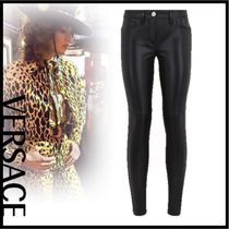 VERSACE Plain Leather Leather & Faux Leather Pants