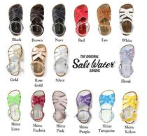 SALT WATER SANDALS ORIGINAL Flower Patterns Open Toe Casual Style Plain Leather