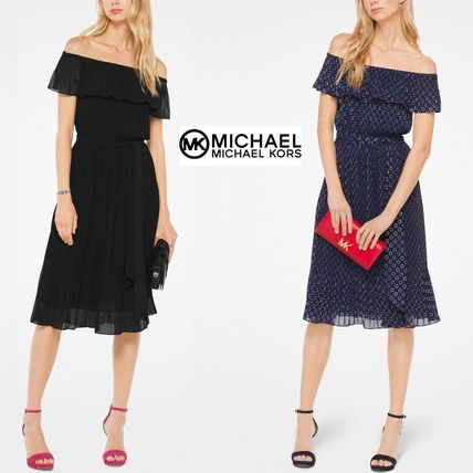 Dots Flared Plain Party Style Dresses