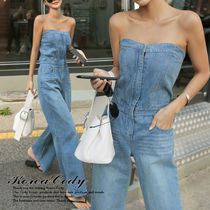 Dungarees Street Style Plain Cotton Long Elegant Style