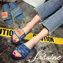 Open Toe Rubber Sole Casual Style Blended Fabrics