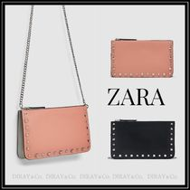 ZARA Casual Style Faux Fur Studded Shoulder Bags