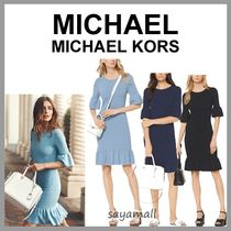 Michael Kors Tight Plain Medium Elegant Style Puff Sleeves Dresses